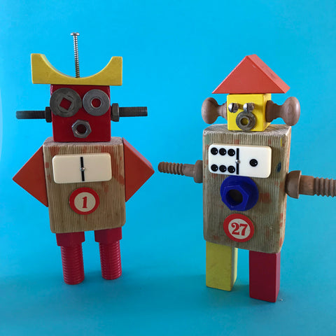 Junk robots made from small parts, kids crafts by Mini Mad Things