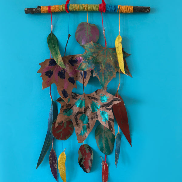 painted autumn leaf mobile kids craft activity
