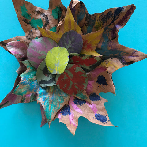 Kids art painted leaf mobile