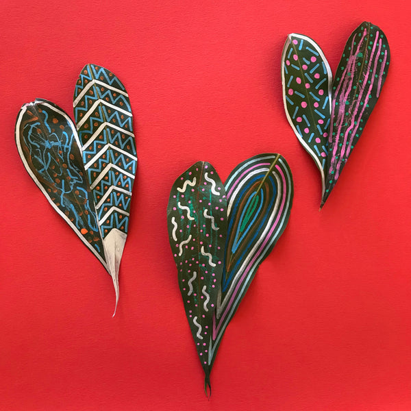 gum leaves decorated with paint pen markers