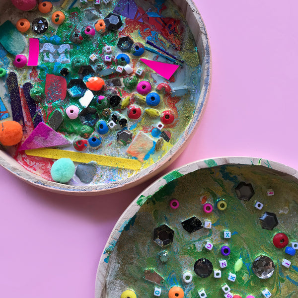 glue and acrylic paint mixed media art with kids
