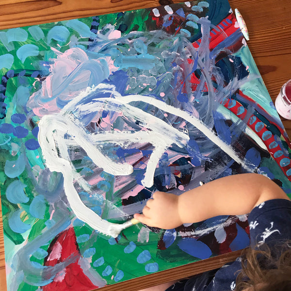 Child's process art painting project