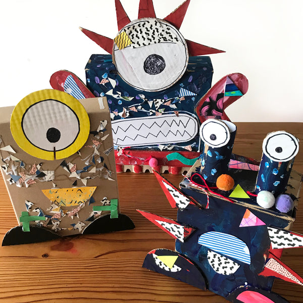 Junk monsters kids craft activity