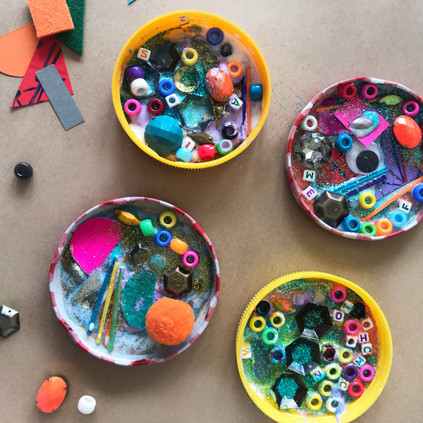 colourful mini mixed media artworks made by kids