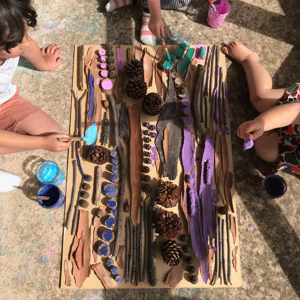 Bark and pine cone painting wall kids art project