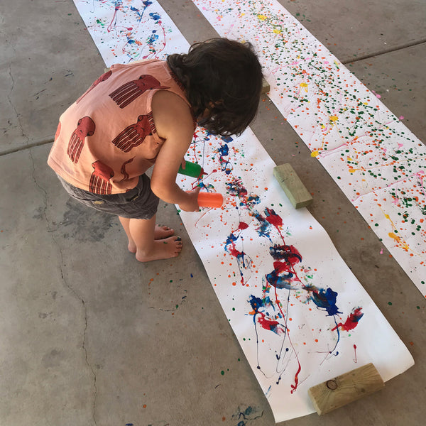 Homemade paint splattered process art wrapping paper