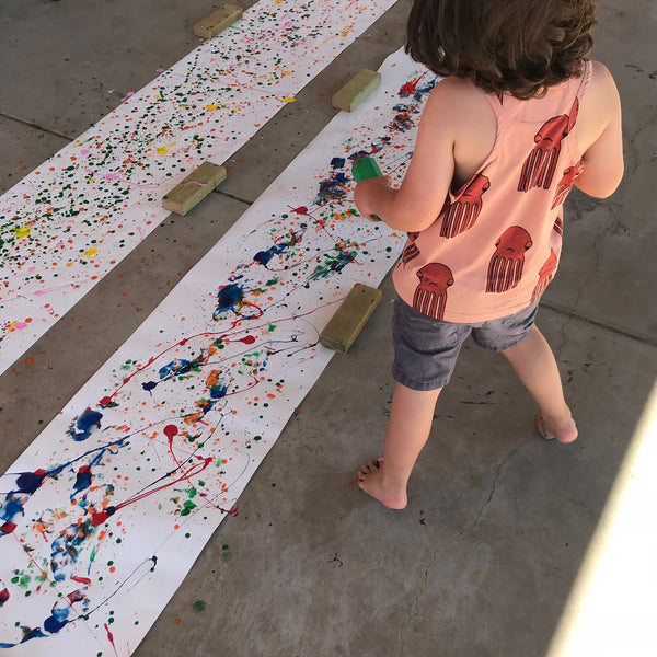 Process art painting with kids