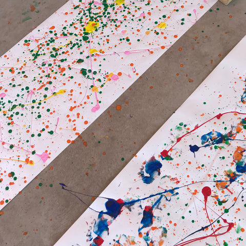 Homemade paint splattered wrapping paper