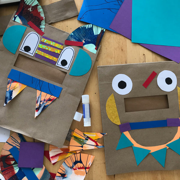 Paper bag monster, robot or animal masks kids craft