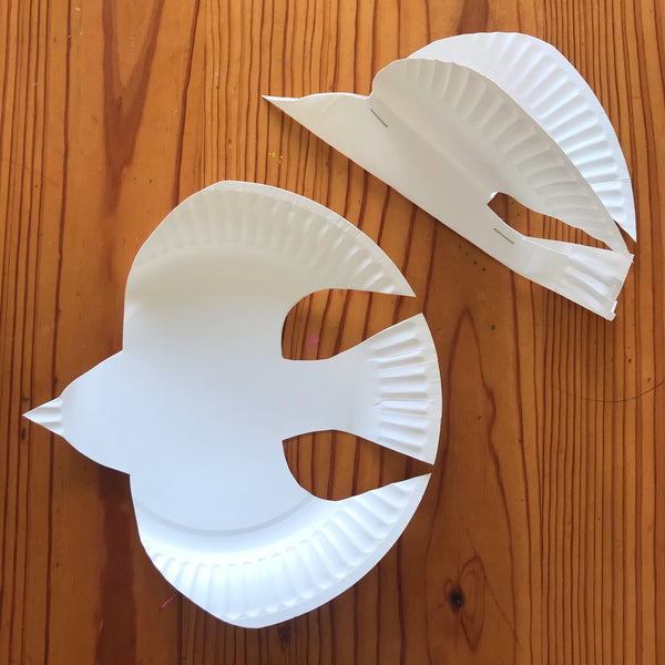 bird shape made out of a paper plate
