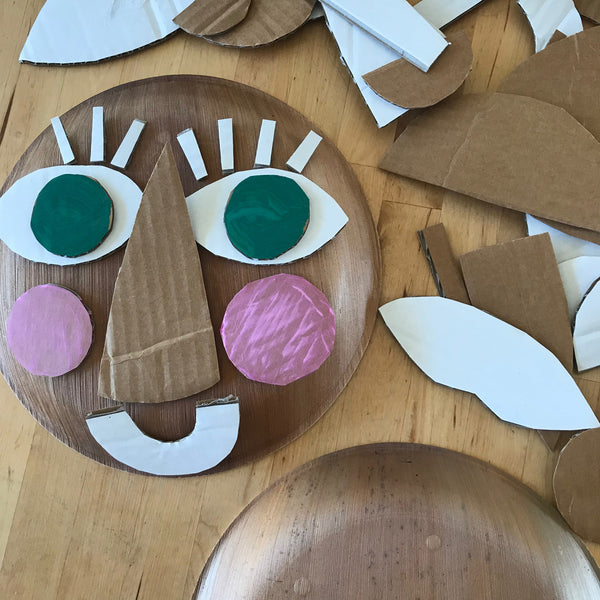Cardboard collage face protrait kids craft