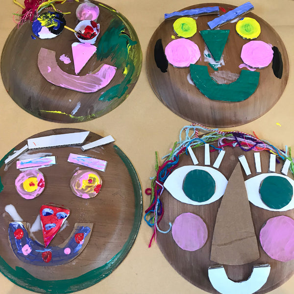 fun cardboard and paper plate portraits