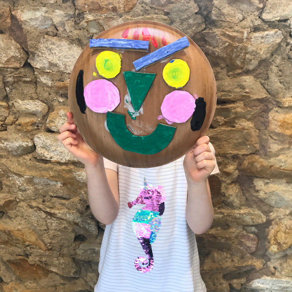 painted paper plate portrait kids art project