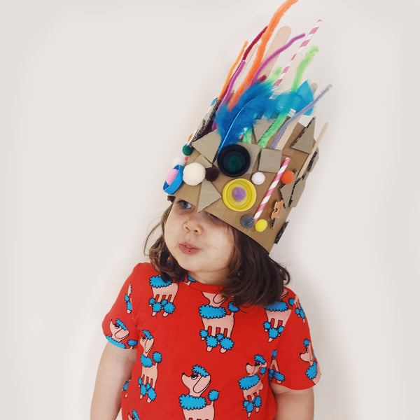 kids party crown made using recycled materials