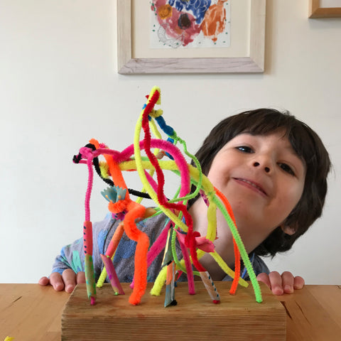 Pasta sculptures kids crafts by Mini Mad Things
