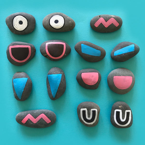 painted rock faces kids craft activity