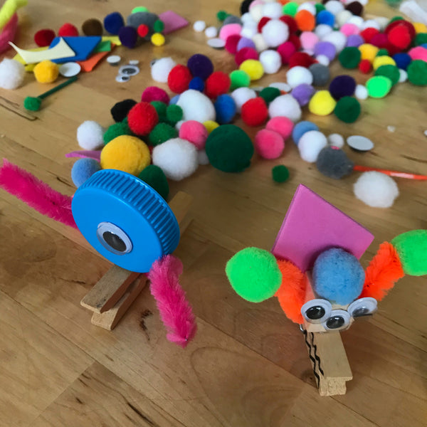 Fun kids crafts using clothes pins and loose parts