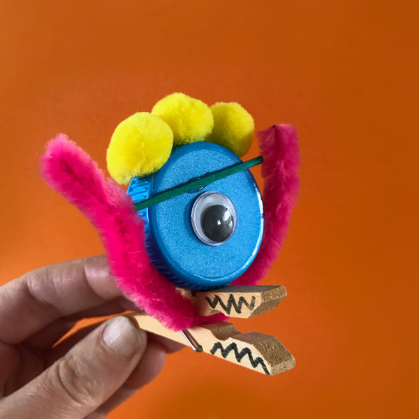 Fun little monsters made from pegs and craft materials