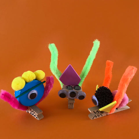 Peg monsters fun kids crafts by Mini Mad Things