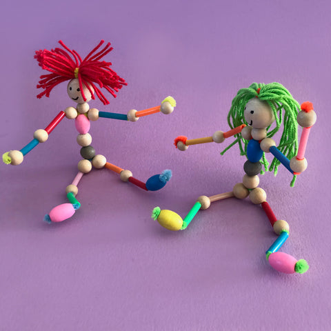 how to make pipe cleaner and bead dolls