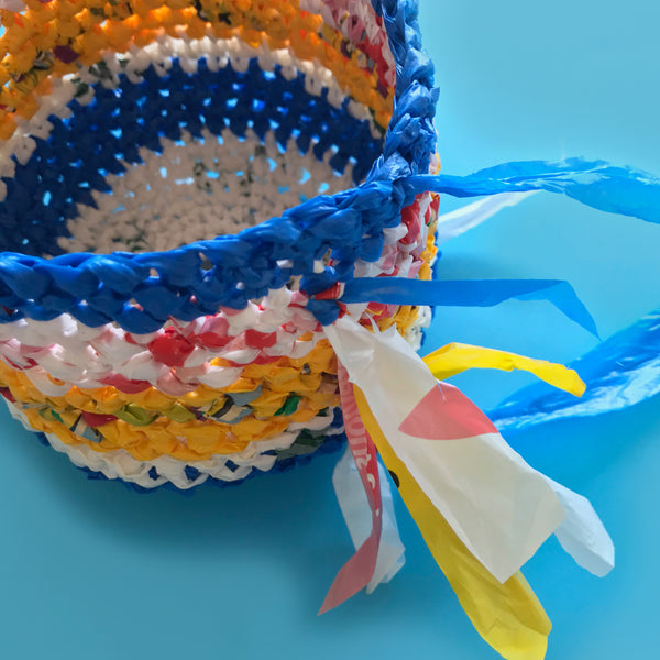 up-cycled plastic bag made into a basket