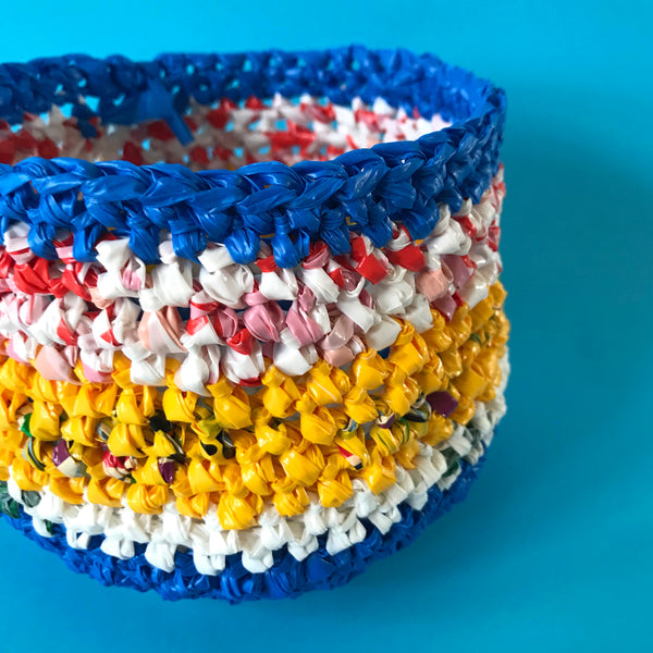 enviromentally friendly craft plastic bag crochet basket