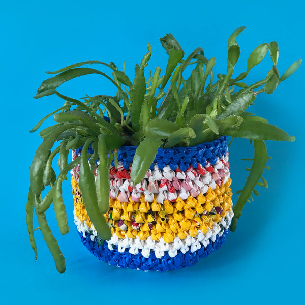Eco craft activities recycled plastic bag crochet basket