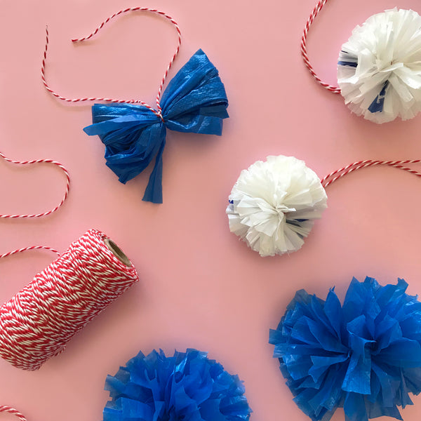 Plastic yarn plarn pom poms made from plastic bags