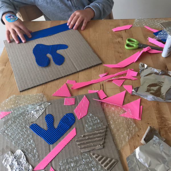 Simple printing for kids using textured materials