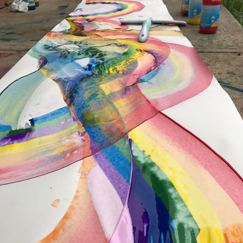 Rainbow painting process art by Mini Mad Things