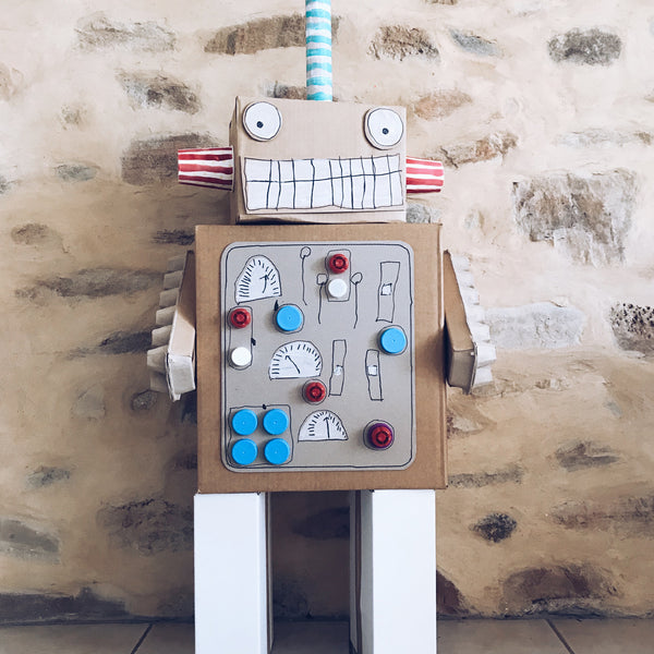 Large robot made from up-cycled cardboard boxes
