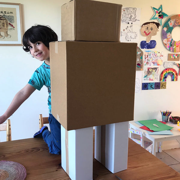a robot made from large cardboard boxes