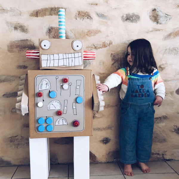 Life size robot made from cardboard boxes kids craft activity