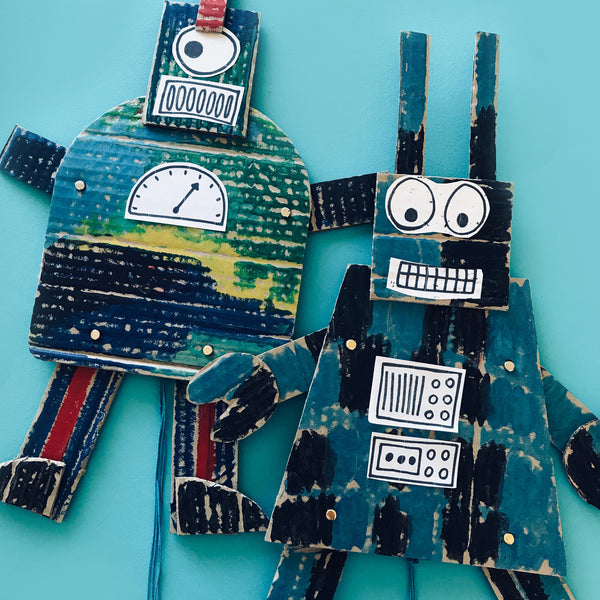 cardboard robot puppet kids craft activity