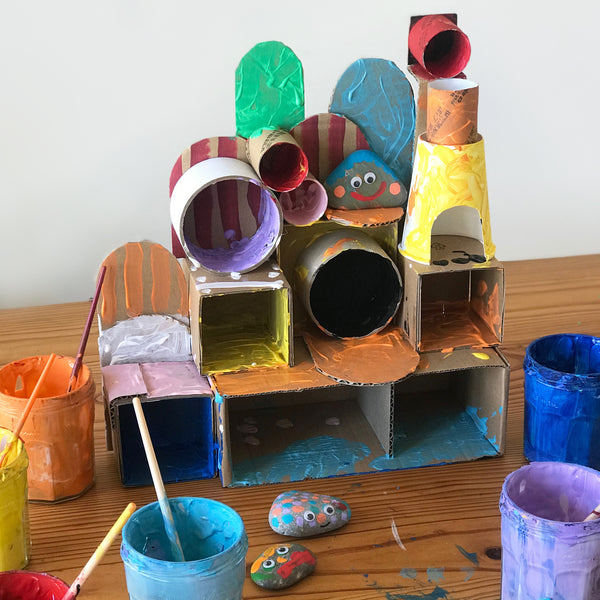 painted cardboard hotel kids craft project