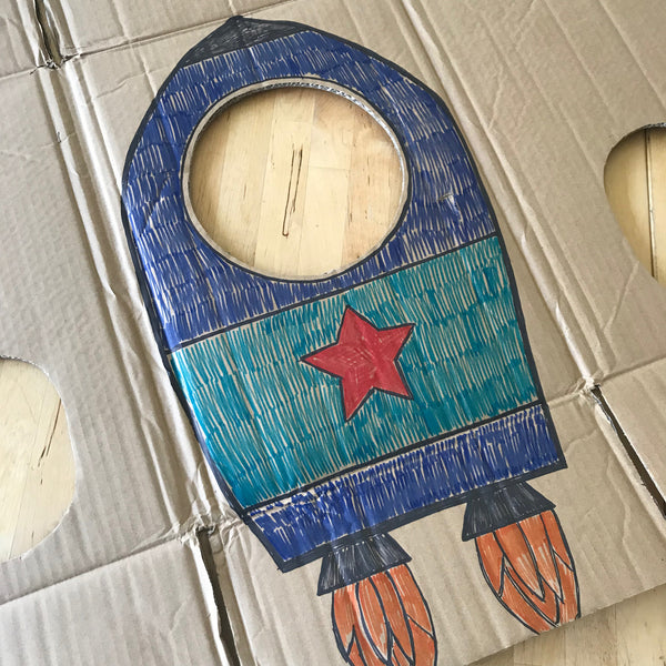 cardboard rocket kids pretend play costume