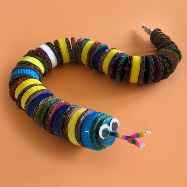 up-cycled snake puppet kids craft project