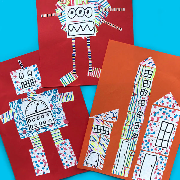 Sticker collage kids art project using address labels