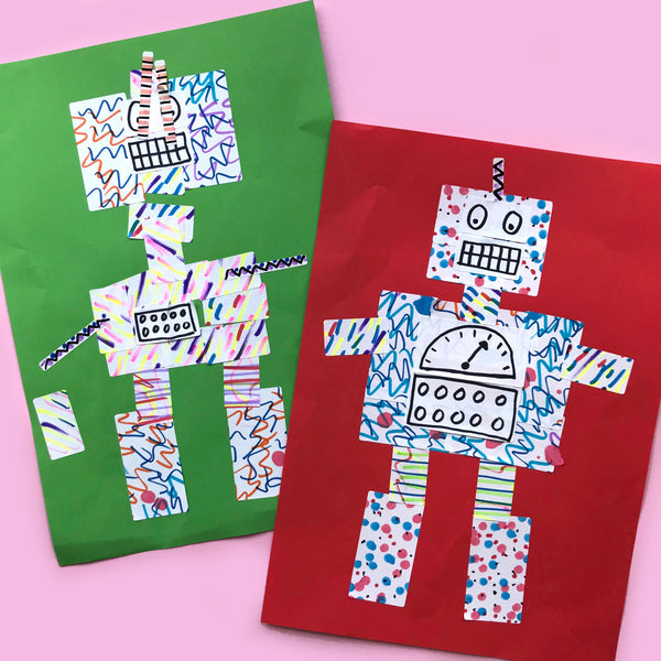 Robot collage kids art made using printer stickers
