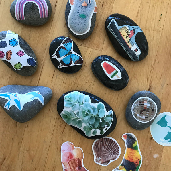 Home made kids story stones craft