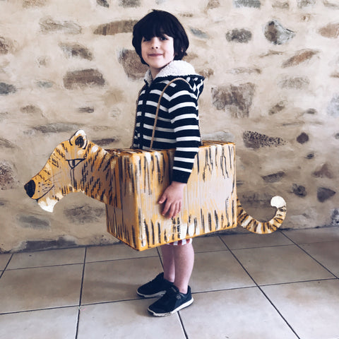 Cardboard box tiger fancy dress costume