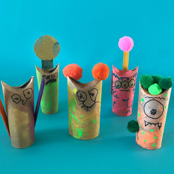 Toilet roll monsters kids craft project