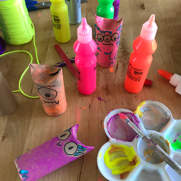 colourful paints and cardboard tube animals craft