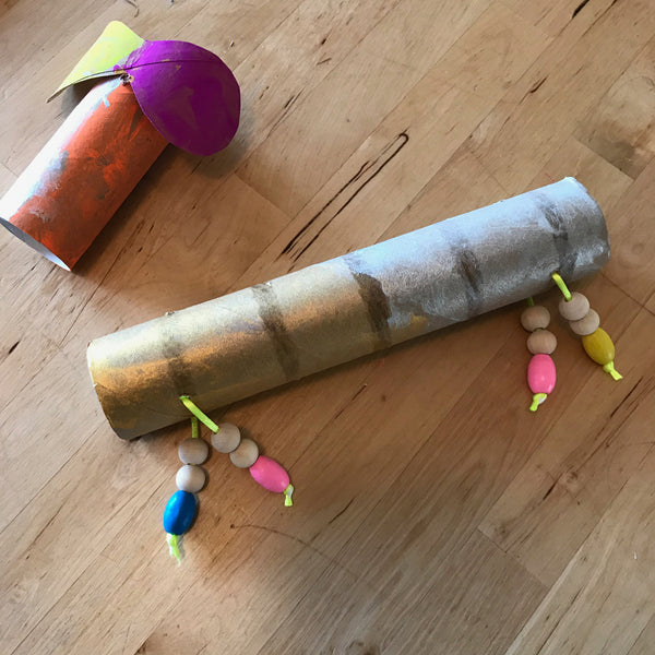 painted cardboard tubes to make a puppet kids craft