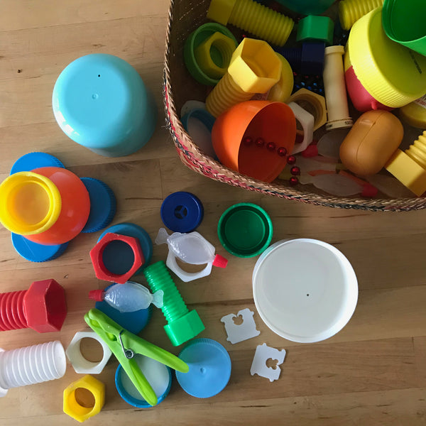 Up-cycled plastic components to use in kids crafts