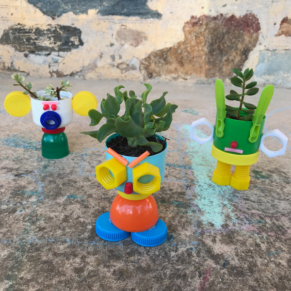 recycled plastic bottle top planters