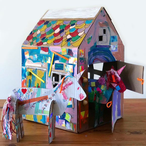 cardboard unicorns and stable craft project