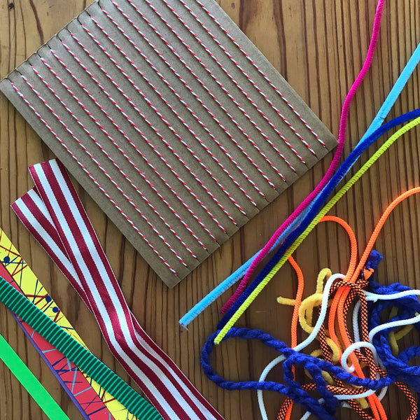 cardboard weaving loom and materials to weave