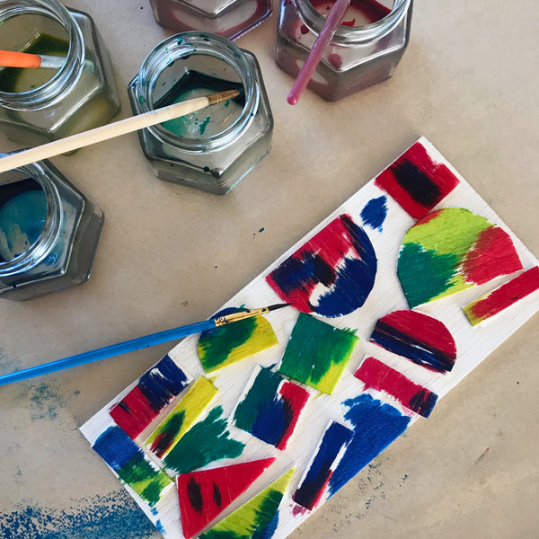 balsa wood painted with liquid water colour kids art