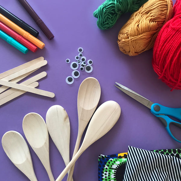 Craft materials to make wooden spoon people